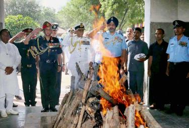 Last rites ceremony of Marshal of Air Force Arjan Singh at Delhis Brar Square