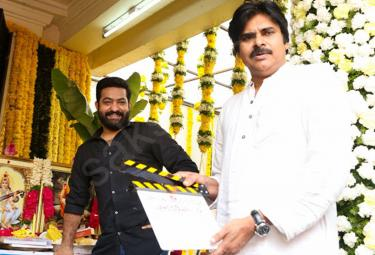 Pawan Kalyan attends the launch of Jr NTR and Trivikram
