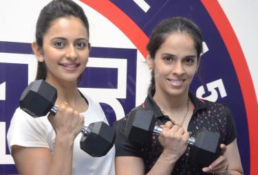 Saina Nehwal launches Rakul Preet F45 Gym Kokapet - Sakshi