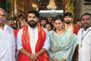 Ramcharan upasana visit tirumala - Sakshi