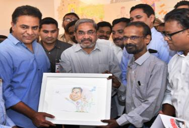 Caricature graphic performance in the art gallery - Sakshi