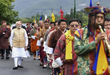 Prime Minister Narendra Modi gets grand welcome in Bhutan - Sakshi