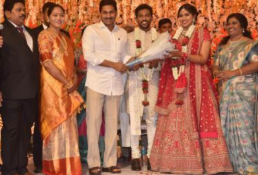 AP Home Minister Mekathoti Sucharitha Daughter Wedding Reception Photo Gallery - Sakshi