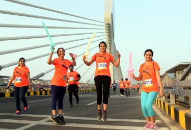 10km and 5km Runs Held at Hyderabad Cable Bridge - Sakshi