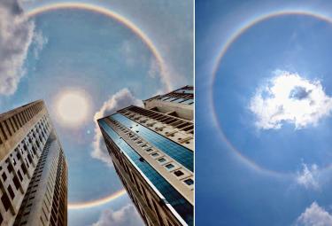 Rainbow halo around sun in Hyderabad Photo Gallery - Sakshi