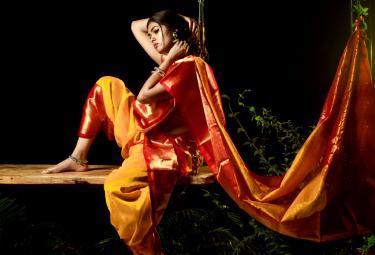 Divi Vadthya in Yellow Silk Saree Photo - Sakshi