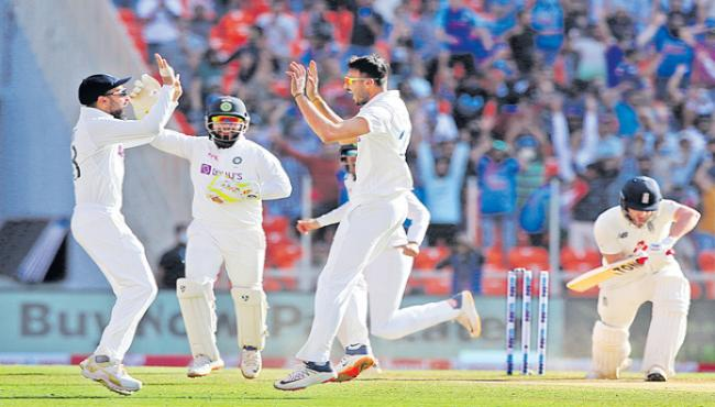 India trump England by 10 wickets within 2 days in Ahmedabad - Sakshi