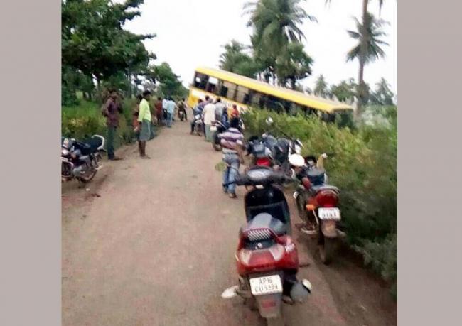 School Bus Rollover - Sakshi