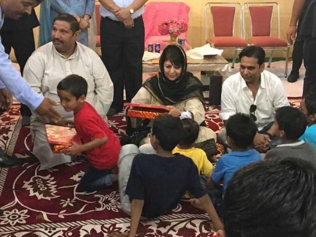 Mehbooba celebrates Diwali with orphans