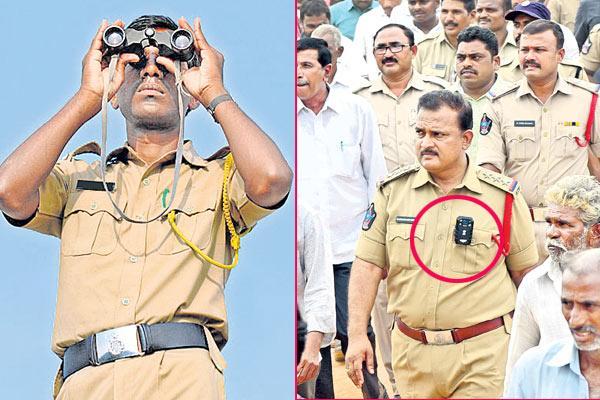 police Surveillance cameras in ys jagan Praja Sankalpa Yatra - Sakshi