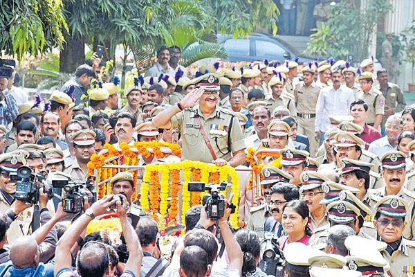 Anurag Sharma in the farewell parade - Sakshi