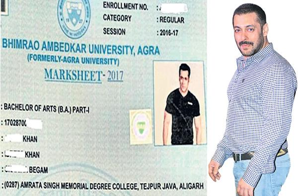 Agra University Uses Salman Khan's Photo On Student's Mark Sheet - Sakshi