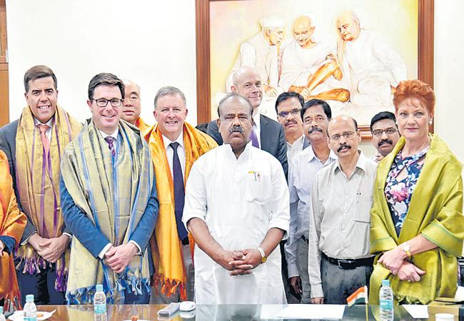 'Australia' team met the speaker in Assembly - Sakshi