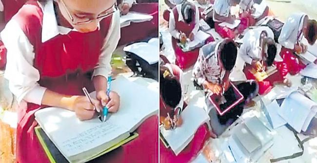 Students Writes With Two Hands Simultaneously at School in Singrauli MP - Sakshi
