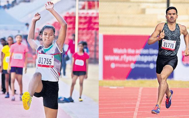 Srikanth, Durga got titles in rfys athletics meet - Sakshi