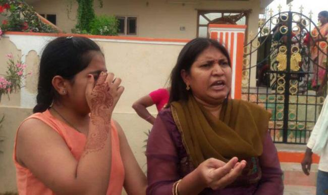 Wife Protest in Front of Husband House in krishna district - Sakshi