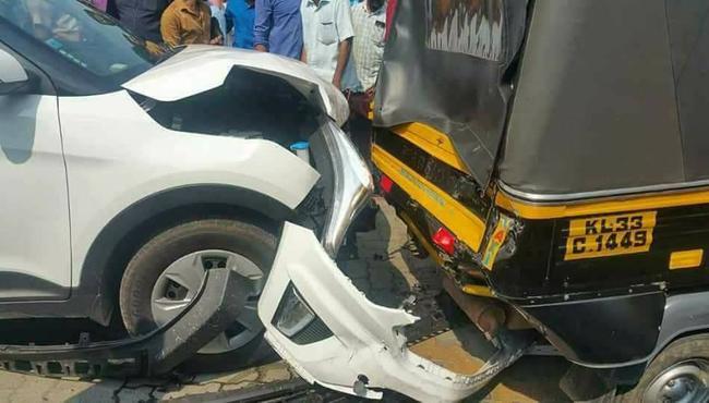 horrible accident, Hyundai Creta hits Piaggio Auto - Sakshi