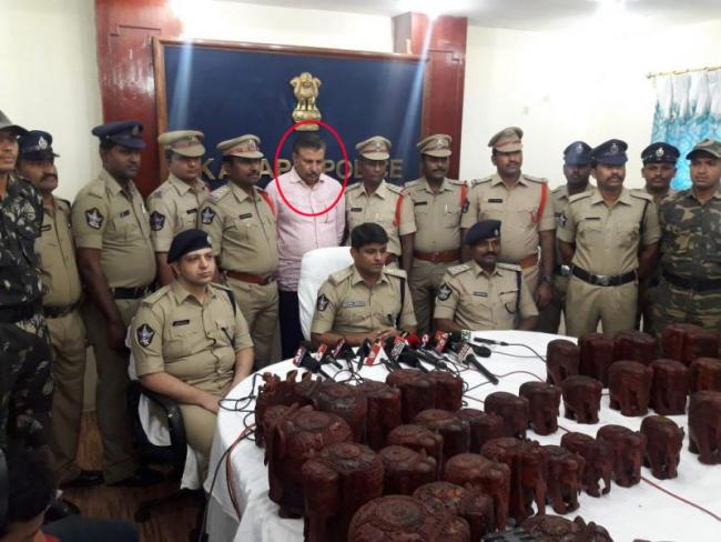 red smuggler arrested by kadapa police - Sakshi