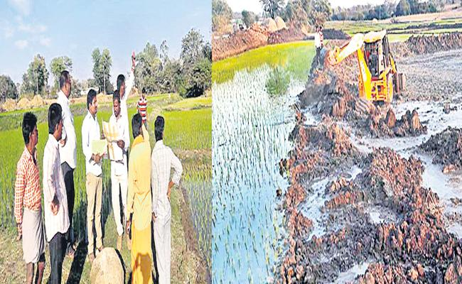 revenue officials Recovered pond land from kabjadarulu - Sakshi