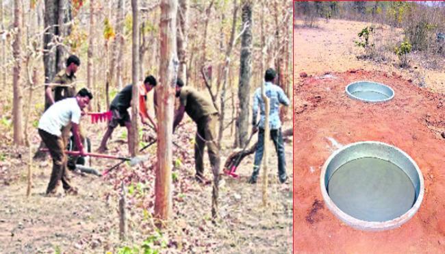 Establishment of 64 water reservoirs in the forrest - Sakshi