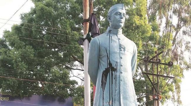 Black Ink Thrown at Nehru Statue in West Bengal's Katwa - Sakshi