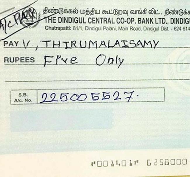 Tamil Nadu farmers get Rs 5, Rs 10 as compensation - Sakshi