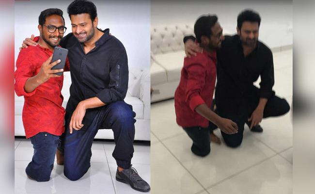 Prabhas Goes Down On His Knee To Click A selfie For His Fan - Sakshi