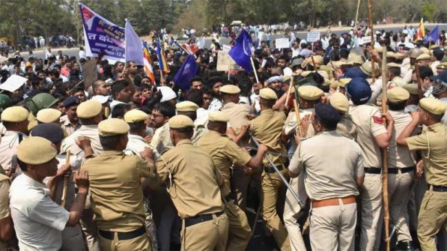 Security Beefed Up In States During Bharat Bandh - Sakshi