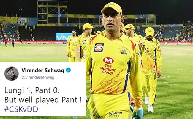 Sehwag Funny Tweet On CSK Win Over DD - Sakshi