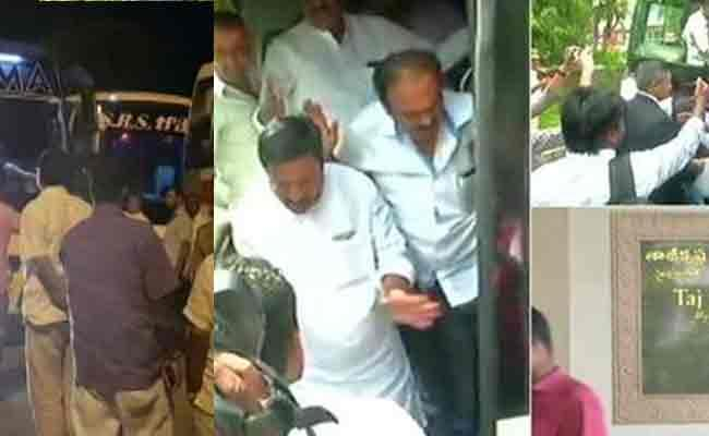 High Drama on Congress-JDS MLAs Reached to Hyderabad - Sakshi