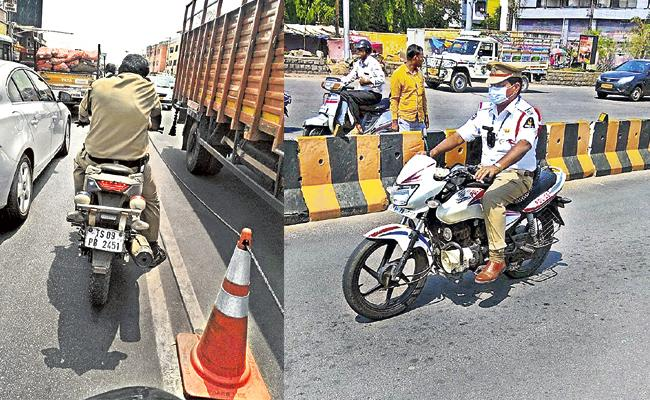 In Hyderabad even traffic cops Cant Escape Fines for Violating Rules - Sakshi