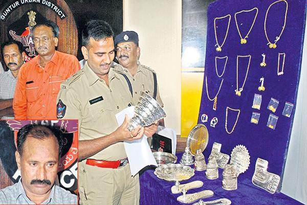 Thief arrested in gold robbery case in temples - Sakshi