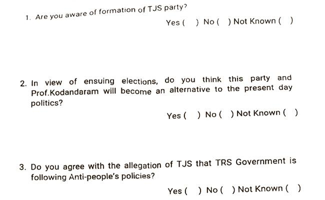 Intelligence Survey On Kodandaram Party TJS - Sakshi