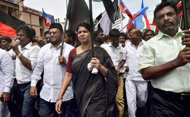 DMK Leader Kanimozhi Slams Palaniswami Government Become Bloodthirsty - Sakshi