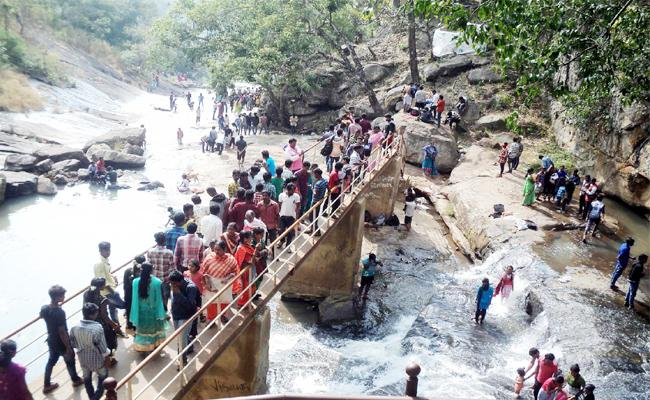 Visitors Hikes In Kothapalli Water Falls Visakhapatnam - Sakshi