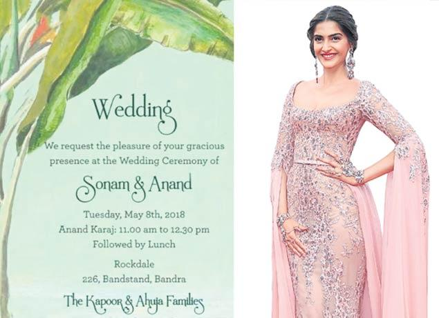 Sonam Kapoor, Anand Ahuja's Wedding Invite And Schedule - Sakshi
