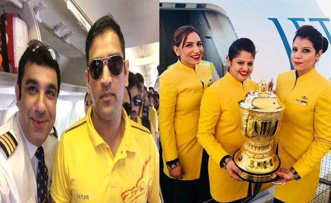 Chennai Super Kings celebrate title win with airplane crew - Sakshi