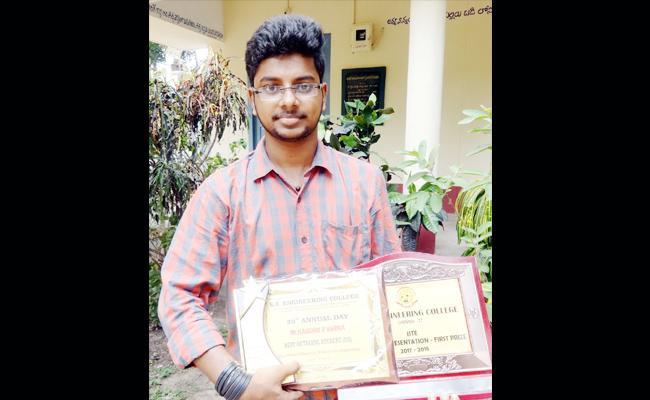 Koushik Varma First Price In ARM And TVS US Contest - Sakshi