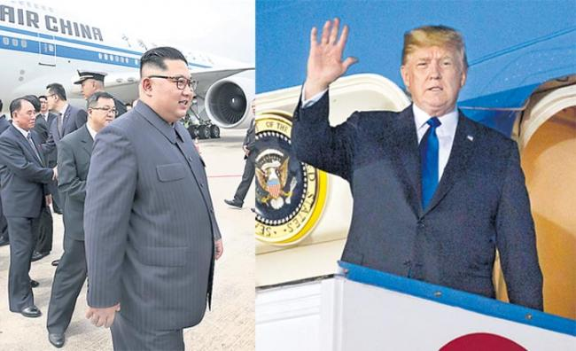US and N Korean leaders arrive in Singapore - Sakshi