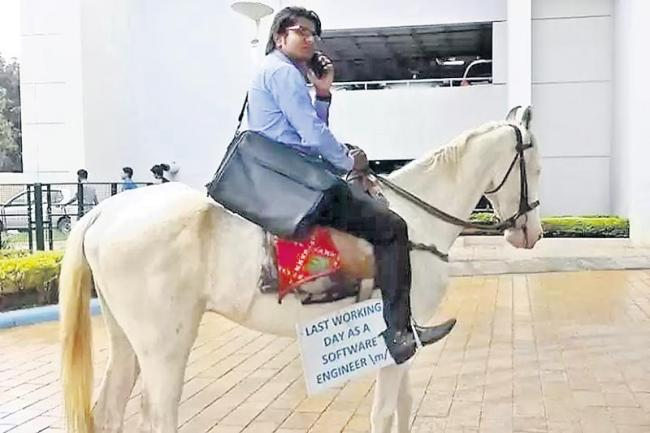 Bengaluru techie rides horse to his last day in office - Sakshi