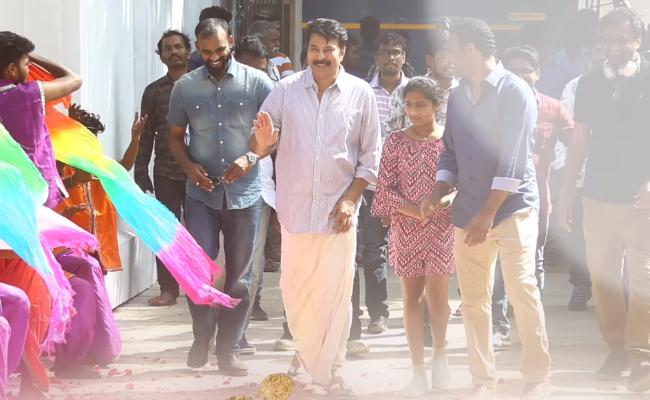 Mega Welcome To Mammootty On The Sets Of Yatra - Sakshi