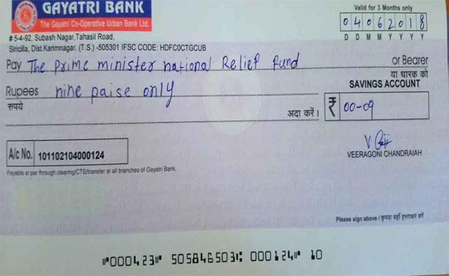 Nine Paisa Check To Modi  - Sakshi