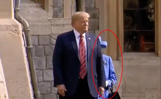 Trump Just Walk In Front Of Britain Queen Viral - Sakshi