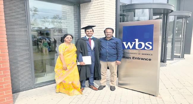 Minister Lakshma reddy Attends Sons Convocation In England - Sakshi