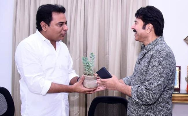 Mammootty Meets KTR In Camp Office - Sakshi