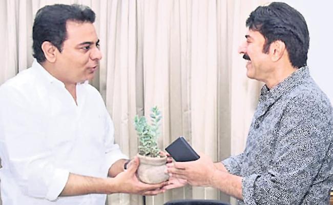 Mammootty Meets KTR In Hyderabad - Sakshi