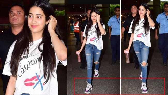 Janhvi Kapoor Pairs Rs 33K Tee With Rs 1.3 Lakh Shoes At The Airport - Sakshi