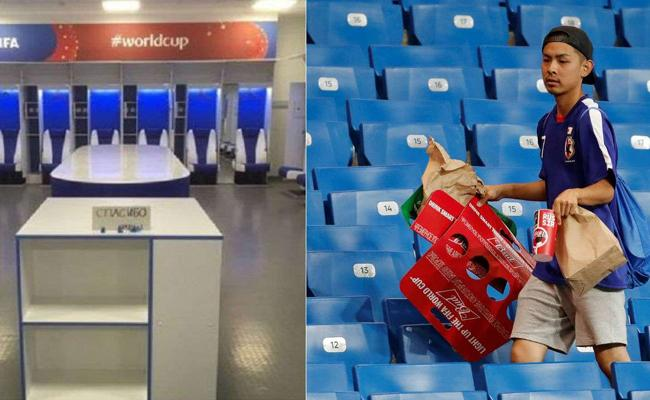 Japan Fans Clean up Dressing Room Stadium After Painful Loss Against Belgium - Sakshi