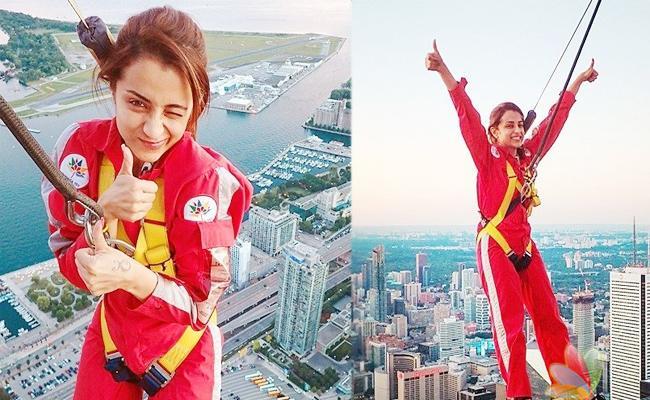 Trisha Bungee Jump Pics Viral In Social Media At Canada Trip - Sakshi