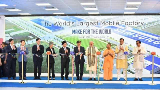 Modi And South Koria President Inaguarate Samsung Mobile Plant - Sakshi
